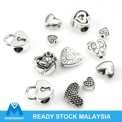 Lead-Safe Pewter Bead, Heart Shape, Antique Silver-Plated
