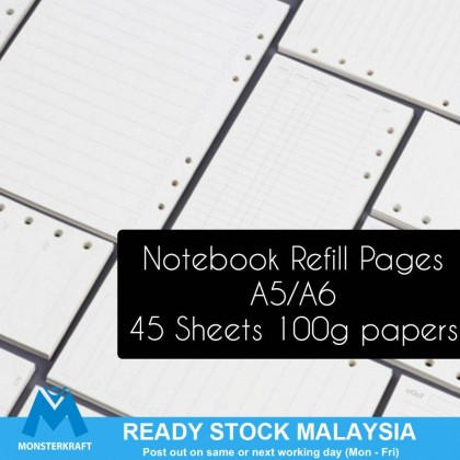 6 Holes Loose Leaf Notebook Refill