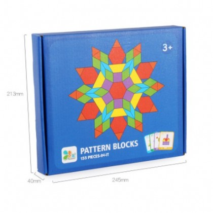 155 Pcs Wooden Pattern Blocks