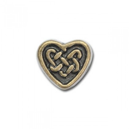 Bead, Lead-Safe Pewter, Heart Celtic #3, Antique Brass-Plated, 20 pcs/pack (384-807)