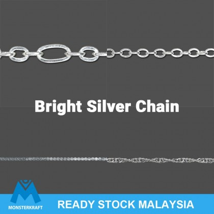 100 cm Chains, Cable, Soldered, Bright Silver-Plated Brass 1 Meter