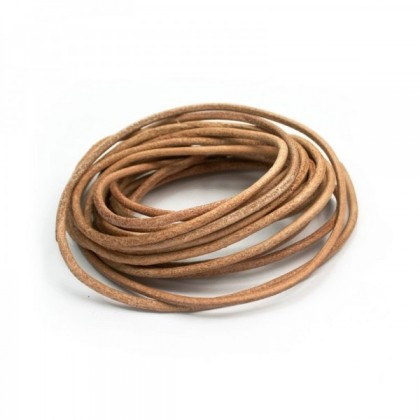 Natural Genuine Leather (Cowhide) Cord, Natural