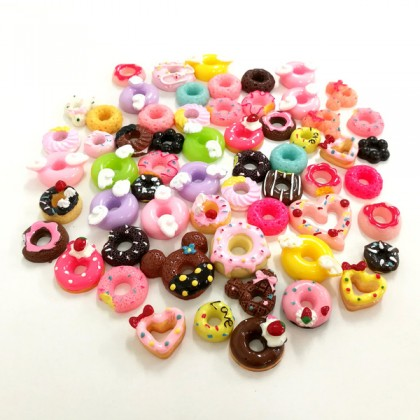 30pcs Mix Resin, Doughnut, Donut Mix, 3D Dessert Cabochon for Crafts & Slime