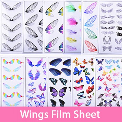 1 pcs Butterfly Feather Wings Clear Film Sheet
