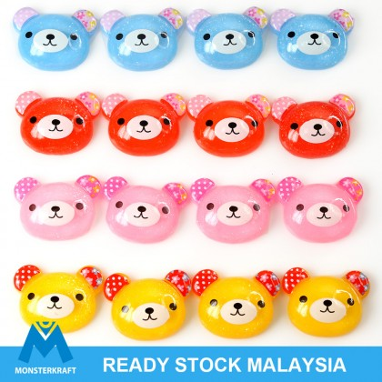 10pcs Bear Resin, Resin Flat, Kawaii Cabochon