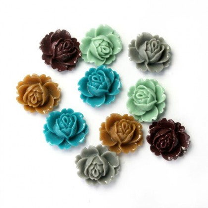 Cabochon, Resin Flower, Cabochons Flower, Rose, 18x16mm