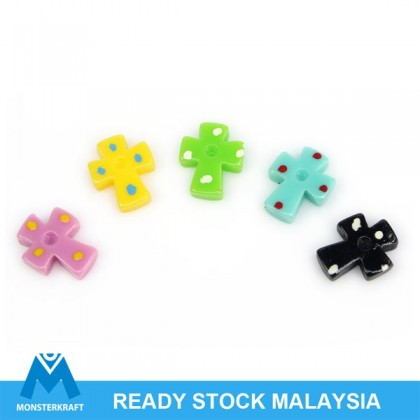 50 pcs Cabochon, Acrylic Kawaii, Cross, 9x12mm, Mix Colors