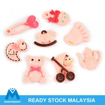 8 pcs Deco Den, Resin Cabochon, Pink Baby Series for Crafts & Slime & Scrapbook