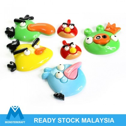 CLEARANCE 6 pcs Deco Den, Resin Acrylic Cabochon, Angry Bird Series (750-022)