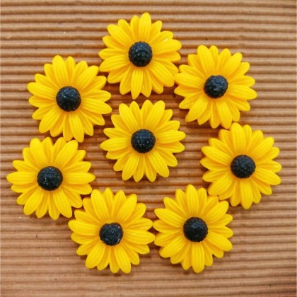 Resin Cabochons, Sunflower, 24mm, 10pcs/pack
