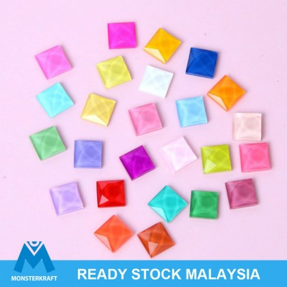 100pcs Glass Flatback Decoden, Square, 8mm Jelly Cabochon for Crafts Slime