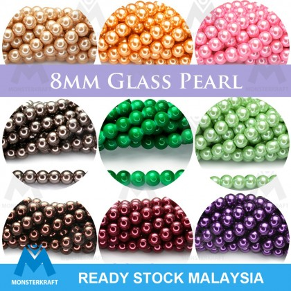 Faux Pearl, Glass, Round, 8mm, Approximate 115 pcs Manik Mutiara