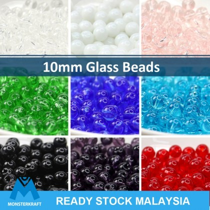 50 grams Glass Beads, Round, 10mm