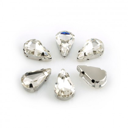 [Disabled] 10 pcs 8x13mm Chunky Beads Glass Sew-on Rhinestones with Settings, Tear Drop