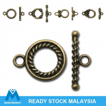 Toggle Clasp, Charm Bracelet Clasp, Antique Brass-Plated (504-410P)