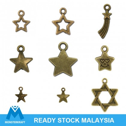 Pewter Charms, Sun Star Theme, Antique Brass-Plated