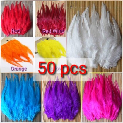 50pcs Feather (Bulu) 6-12cm Rooster Tail Feathers for dreamcatcher Craft
