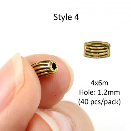 Metal Tube Beads, Lead-Safe Pewter Bead, Antique Gold-Plated