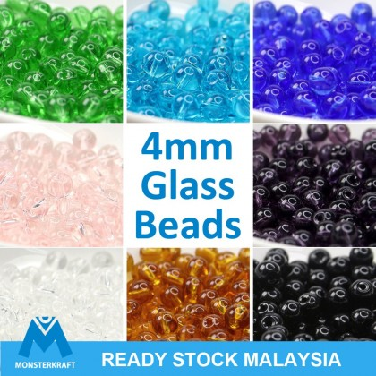 50 grams Glass Beads, Round, 4mm