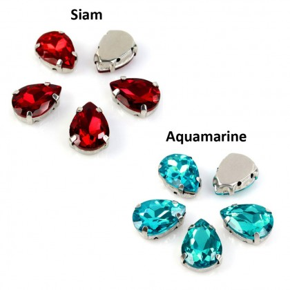 13x18mm Chunky Glass Sew-on Rhinestones with Settings, Tear Drop