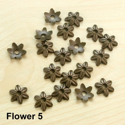 Bead Cap, Flower, Antique Brass-Plated Pewter, 5 Types to chose