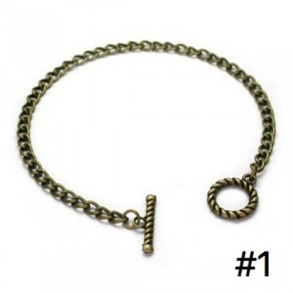 Charm Bracelets with Toggle Clasp, Chain, Antique Brass-Plated, 2 pcs/pack