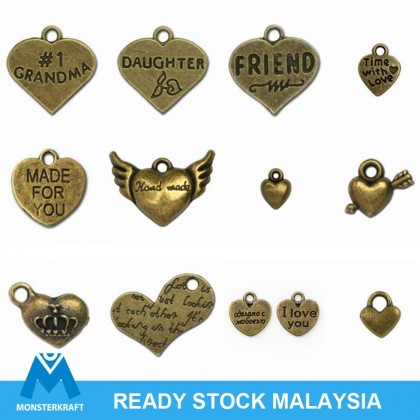 Pewter Charms,  Love Theme, Valentine Couple Heart Antique Brass-Plated