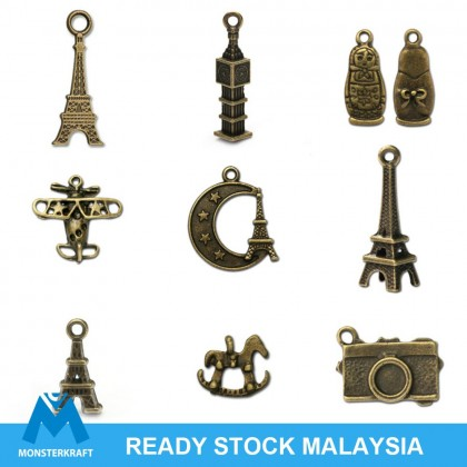 Pewter Charms,  Holiday Theme Travel Plane Flight, Antique Brass-Plated
