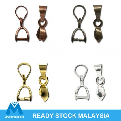 20 pcs Bails, Pinch Style with Ring, Plain Bail, 4 Colors to chose