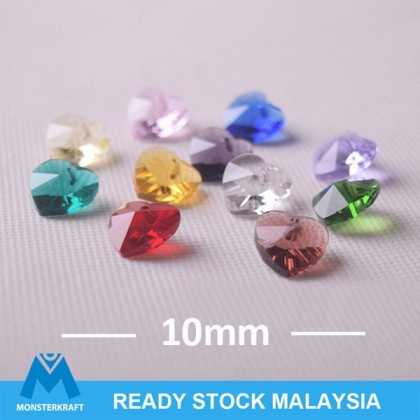 20 pcs Love Shape Chinese Crystals Glass Beads Manik, 10mm, Heart Shape Pendant