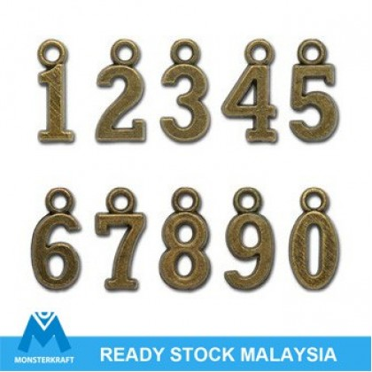 Charm, Numbers, 16mm, Antique Brass-Plated, 20 pcs/pack (604-390P)