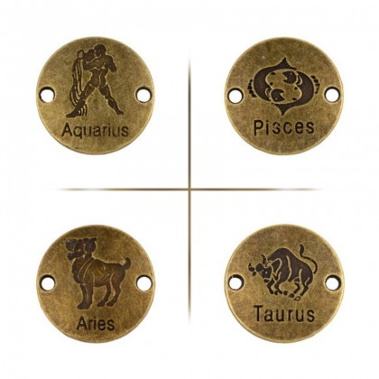 Horoscope Links,  Antique Brass-Plated Pewter, 6 pcs/pack