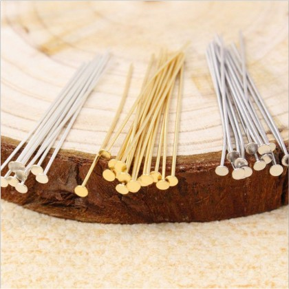 10 grams Headpin, Silver-Plated, Gold-Plated, Antique Brass-Plated Brass (512-001P)