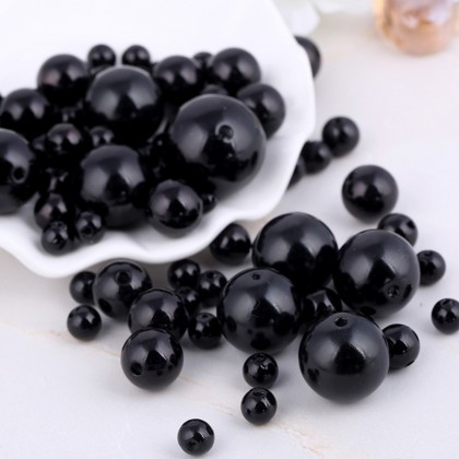 Round Acrylic Beads, Black, Doll Eyes, 40 grams/pack, Loose Beads 珠子串珠