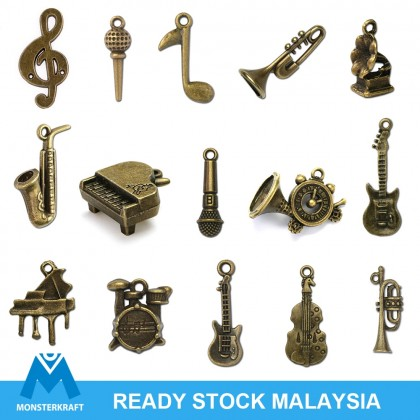 Music Series Charms Random Mix, Music Instrument, Music Note, Antique Brass-Plated Pewter 50 grams Bundle