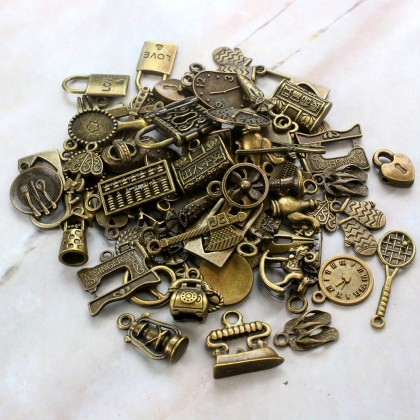 Charms Household Series Random Mix, Home Appliances, Kitchen Slipper Charm, Antique Brass-Plated Pewter 50grams /pack