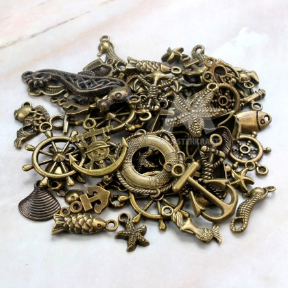 Charms Ocean Series Random Mix, Fish Sea Beach Ship Anchor Shell Starfish Seahorse, Antique Brass-Plated Pewter 50grams
