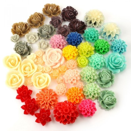 CLEARANCE: Resin Cabochons, Mixed Lot, Assorted Colors, 50 pcs/pack