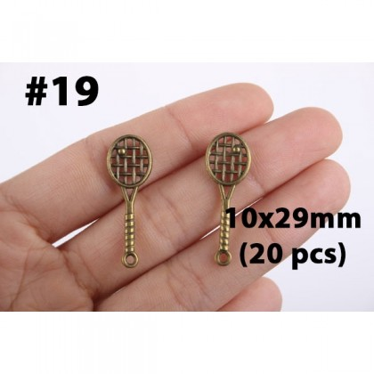 3D Pewter Charms, Fan Slipper Money Home House Lock Key, Antique Brass-Plated Pewter Charm