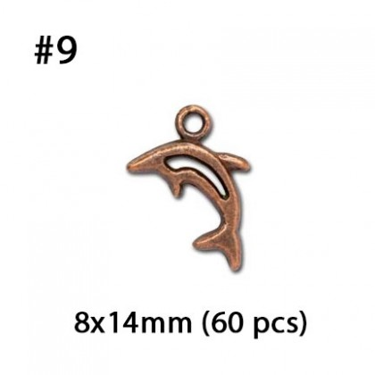Copper Pewter Charms, Ocean Theme Sea Life