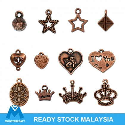 Copper Pewter Charms, Crown Princess Queen