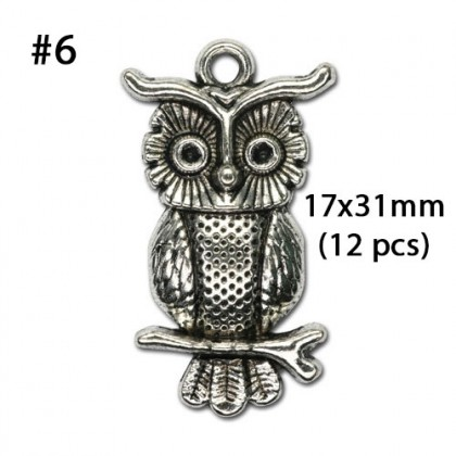 Silver Charms, Animal Bird Bear Cat Pet Eagle Owl Hunger Game, Silver/Antique Silver-Plated Pewter Charm