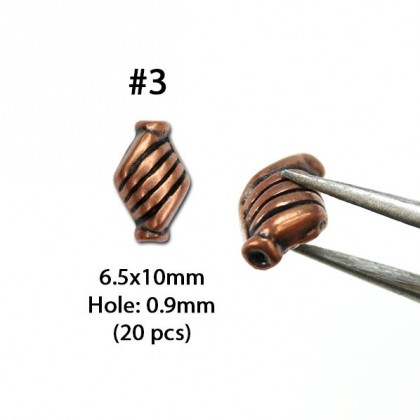 Copper Lead-Safe Pewter Bead, Pewter Tube Beads, Antique Copper-Plated, Metal Beads